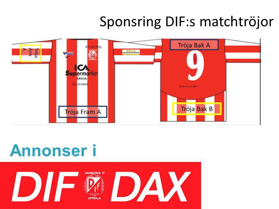 Sponsring DIF:s matchtröjor Annonser i