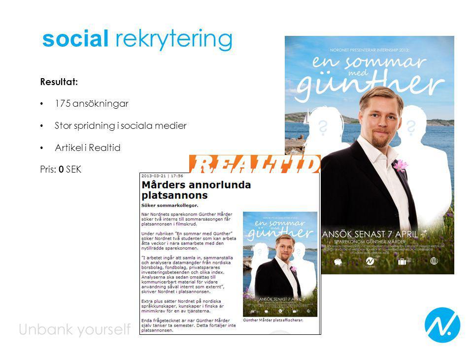 Resultat: 175 ansökningar Stor spridning i sociala medier Artikel i Realtid Pris: 0 SEK social rekrytering