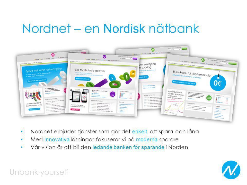 Nordnet – en Nordisk nätbank Nordnet erbjuder tjänster som gör det enkelt att spara och låna Med innovativa lösningar fokuserar vi på moderna sparare Vår vision är att bli den ledande banken för sparande i Norden