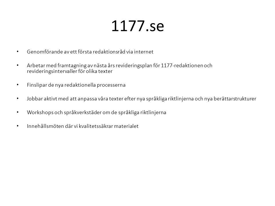 1177.se Genomförande av ett första redaktionsråd via internet Arbetar med framtagning av nästa års revideringsplan för 1177-redaktionen och revideringsintervaller för olika texter Finslipar de nya redaktionella processerna Jobbar aktivt med att anpassa våra texter efter nya språkliga riktlinjerna och nya berättarstrukturer Workshops och språkverkstäder om de språkliga riktlinjerna Innehållsmöten där vi kvalitetssäkrar materialet