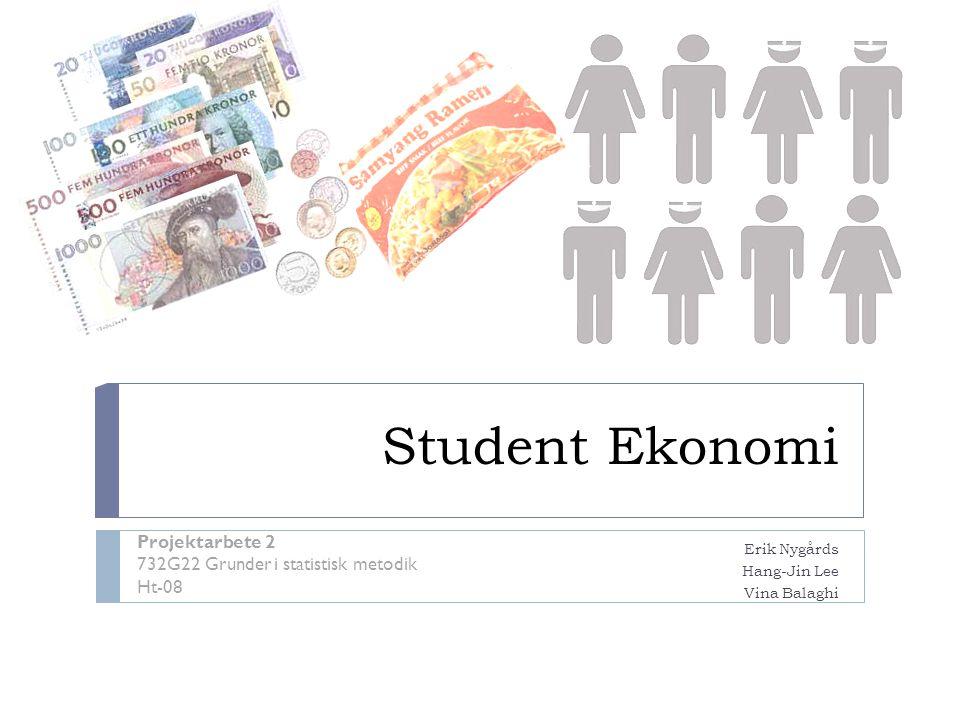 Student Ekonomi Erik Nygårds Hang-Jin Lee Vina Balaghi Projektarbete 2 732G22 Grunder i statistisk metodik Ht-08
