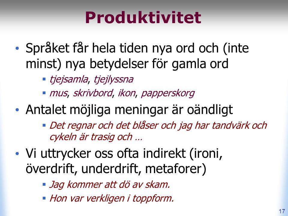 Produktivitet Språket får hela tiden nya ord och (inte minst) nya betydelser för gamla ord  tjejsamla, tjejlyssna  mus, skrivbord, ikon, papperskorg Antalet möjliga meningar är oändligt  Det regnar och det blåser och jag har tandvärk och cykeln är trasig och … Vi uttrycker oss ofta indirekt (ironi, överdrift, underdrift, metaforer)  Jag kommer att dö av skam.