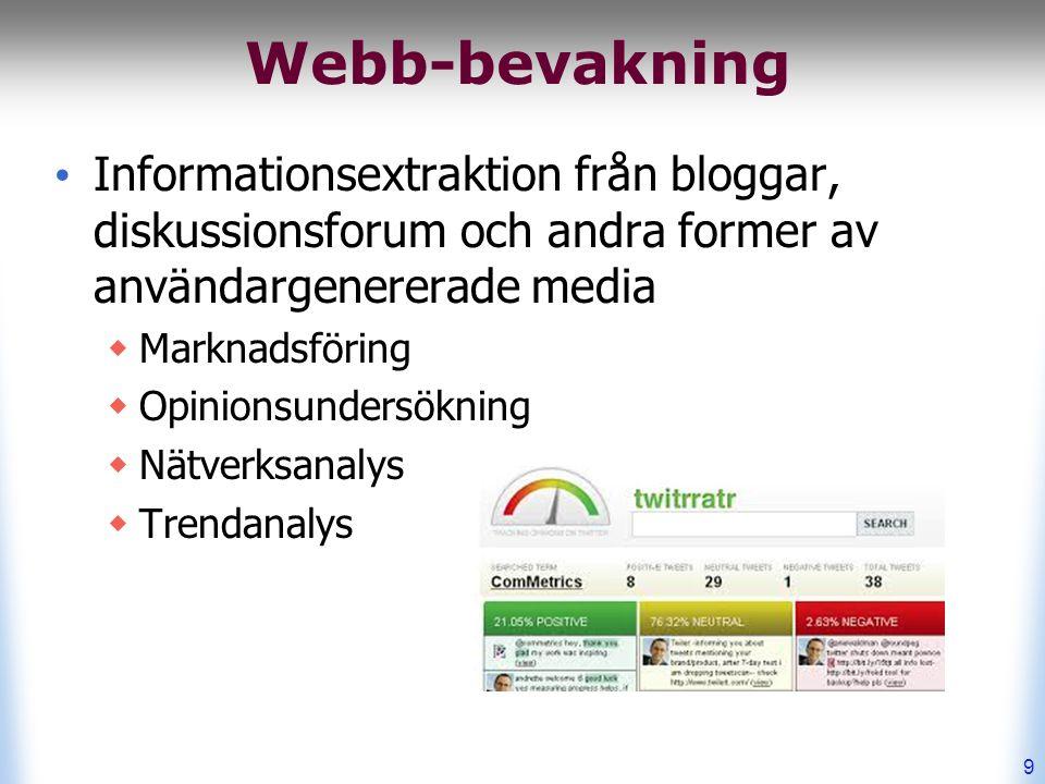 Webb-bevakning Informationsextraktion från bloggar, diskussionsforum och andra former av användargenererade media  Marknadsföring  Opinionsundersökning  Nätverksanalys  Trendanalys 9