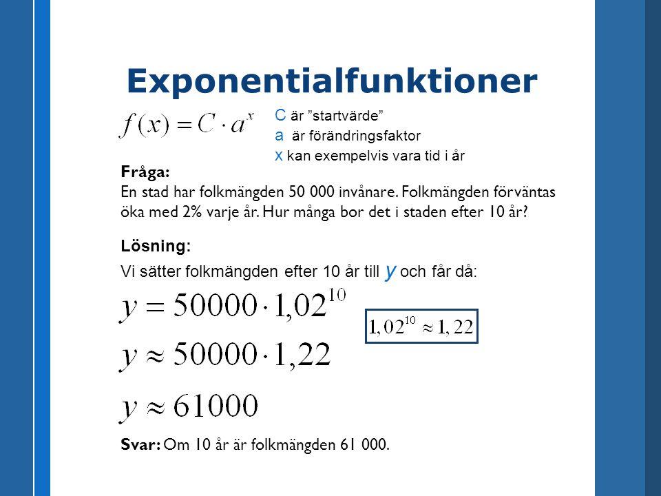 Exponentialfunktioner Fråga: En stad har folkmängden 50 000 invånare. Folkmängden förväntas öka med 2% varje år. Hur många bor det i staden efter 10 å