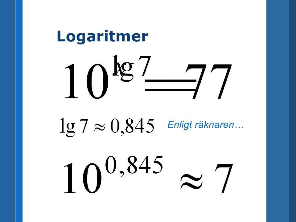 Logaritmer (1)(1) ( 1 ) lg(3×4) = 1,07918124605 --- lg(3)+lg(4) = 1,07918124605 [test] (2) ( 2 ) lg(4/3) = 0,124938736608 --- lg(4)-lg(3) = 0,124938736608 [test] (3)(3) ( 3 ) lg(3^4) = 1,90848501888 --- 4×lg(3) = 1,90848501888 [test]