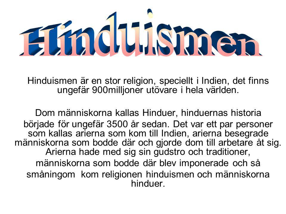 Hinduismen är en stor religion, speciellt i Indien, det finns ungefär 900milljoner utövare i hela världen. Dom människorna kallas Hinduer, hinduernas