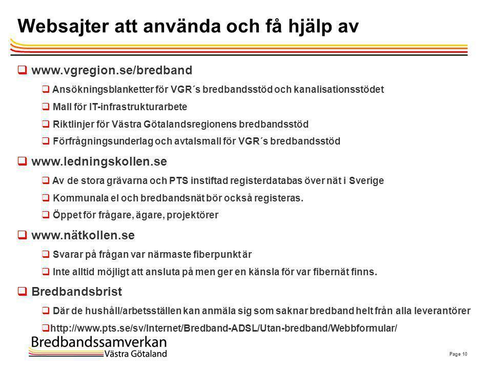 Page 10 Websajter att använda och få hjälp av  www.vgregion.se/bredband  Ansökningsblanketter för VGR´s bredbandsstöd och kanalisationsstödet  Mall