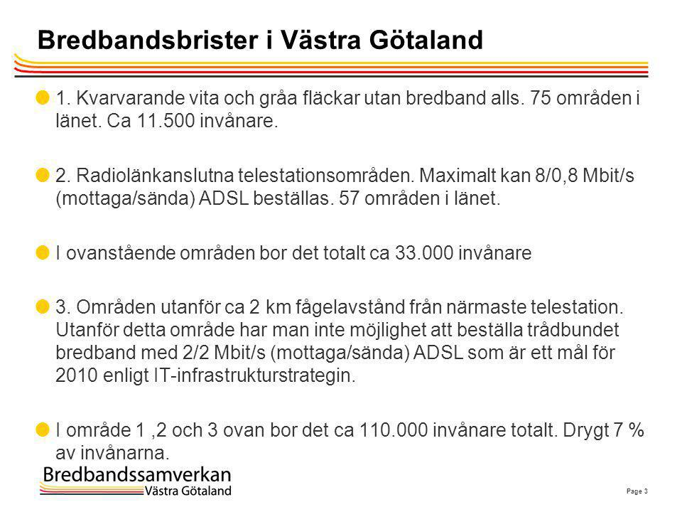 Page 3 Bredbandsbrister i Västra Götaland  1. Kvarvarande vita och gråa fläckar utan bredband alls. 75 områden i länet. Ca 11.500 invånare.  2. Radi