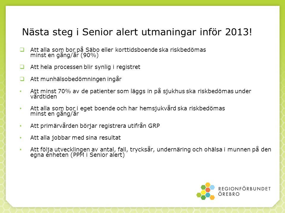 Nästa steg i Senior alert utmaningar inför 2013!  Att alla som bor på Säbo eller korttidsboende ska riskbedömas minst en gång/år (90%)  Att hela pro