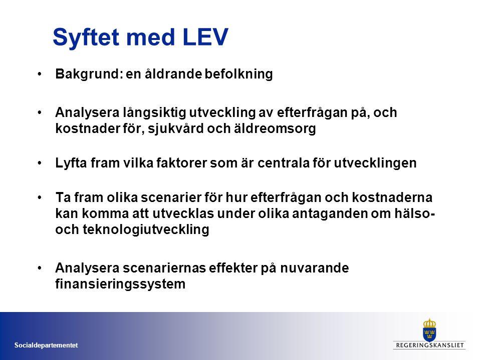 Socialdepartementet Syftet med LEV Bakgrund: en åldrande befolkning Analysera långsiktig utveckling av efterfrågan på, och kostnader för, sjukvård och