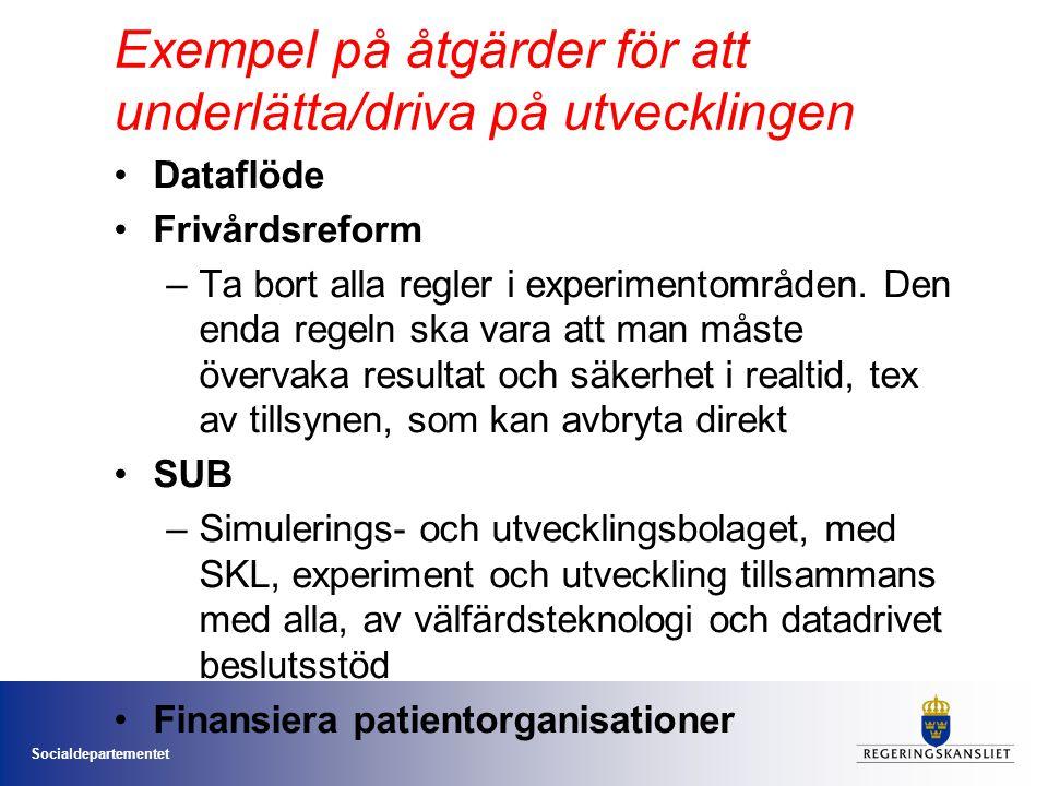 Socialdepartementet Exempel på åtgärder för att underlätta/driva på utvecklingen Dataflöde Frivårdsreform –Ta bort alla regler i experimentområden. De