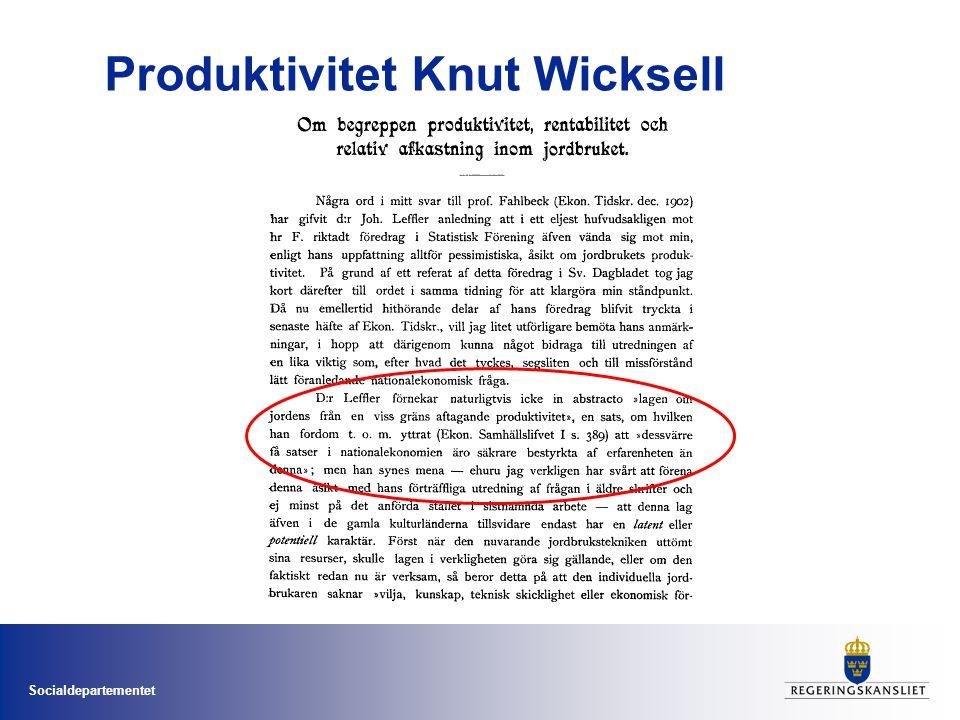 Socialdepartementet Produktivitet Knut Wicksell