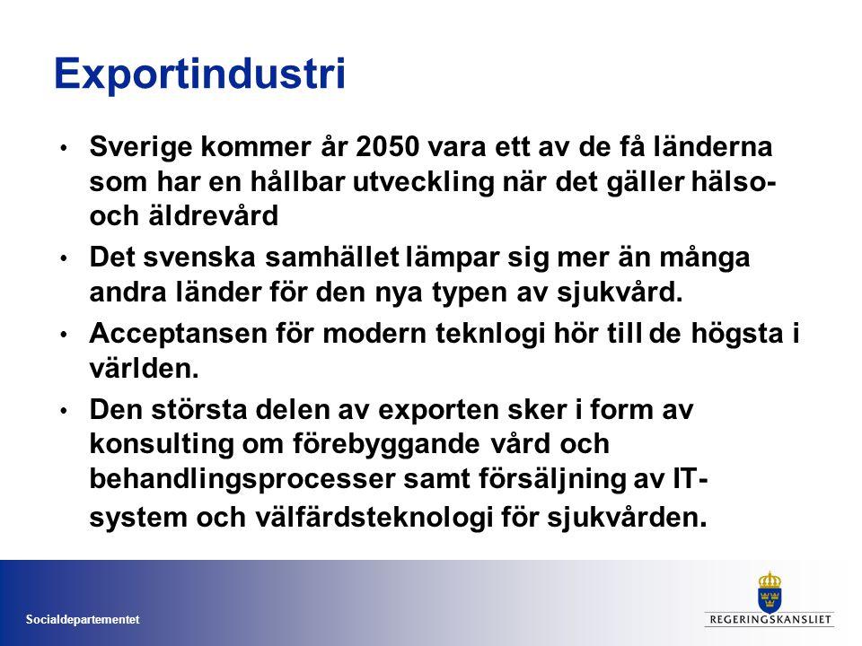 Socialdepartementet Exportindustri Sverige kommer år 2050 vara ett av de få länderna som har en hållbar utveckling när det gäller hälso- och äldrevård