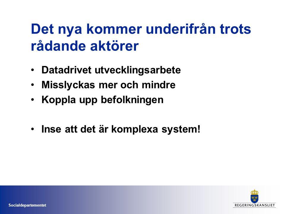 Socialdepartementet Det nya kommer underifrån trots rådande aktörer Datadrivet utvecklingsarbete Misslyckas mer och mindre Koppla upp befolkningen Ins