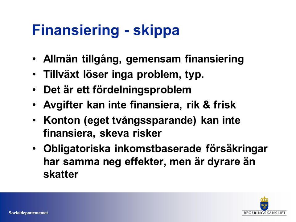 Socialdepartementet Finansiering - skippa Allmän tillgång, gemensam finansiering Tillväxt löser inga problem, typ. Det är ett fördelningsproblem Avgif