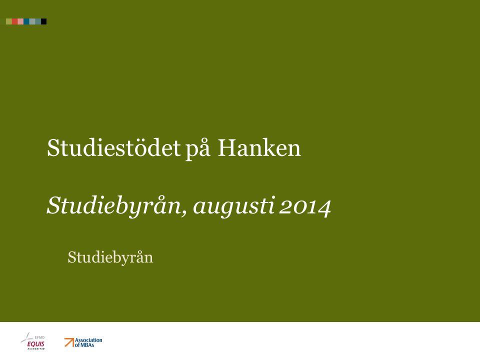 Studiestödet på Hanken Studiebyrån, augusti 2014 Studiebyrån