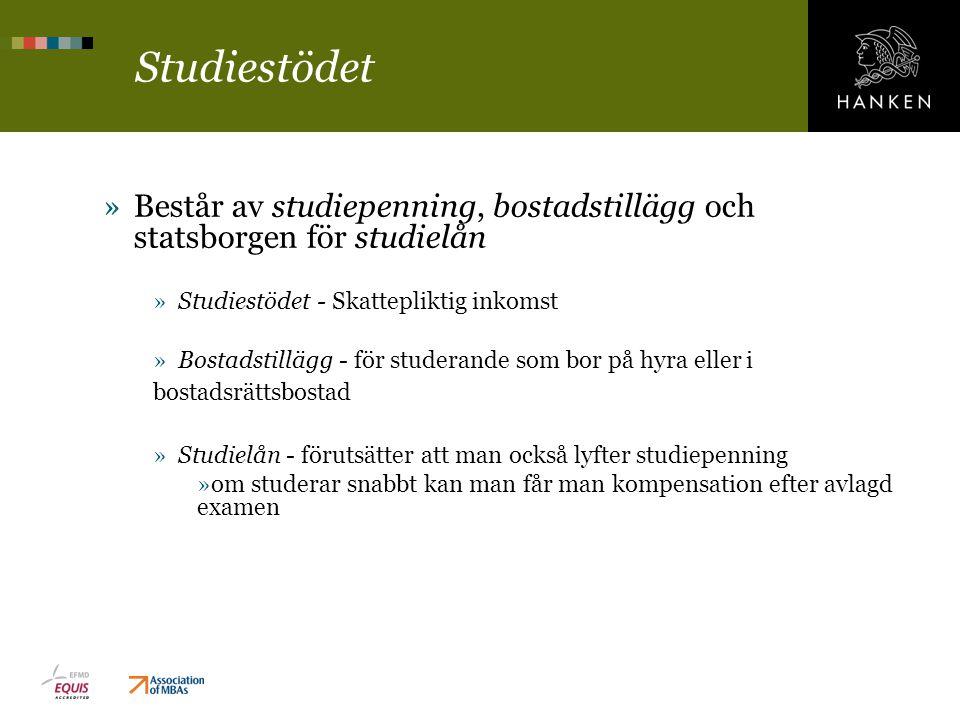 Studiestödet »Består av studiepenning, bostadstillägg och statsborgen för studielån »Studiestödet - Skattepliktig inkomst »Bostadstillägg - för studer