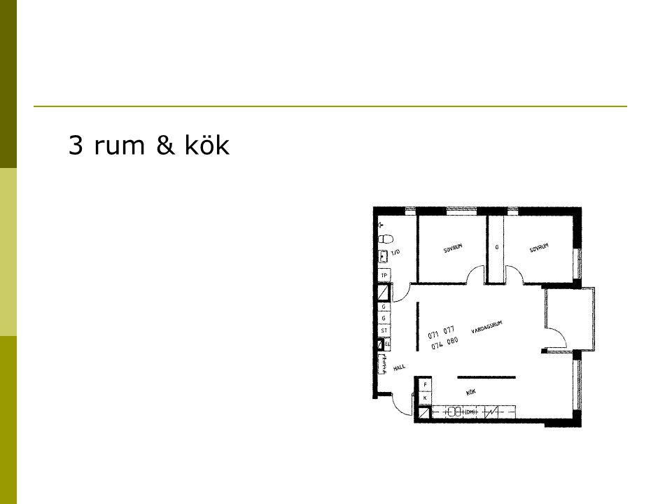 3 rum & kök