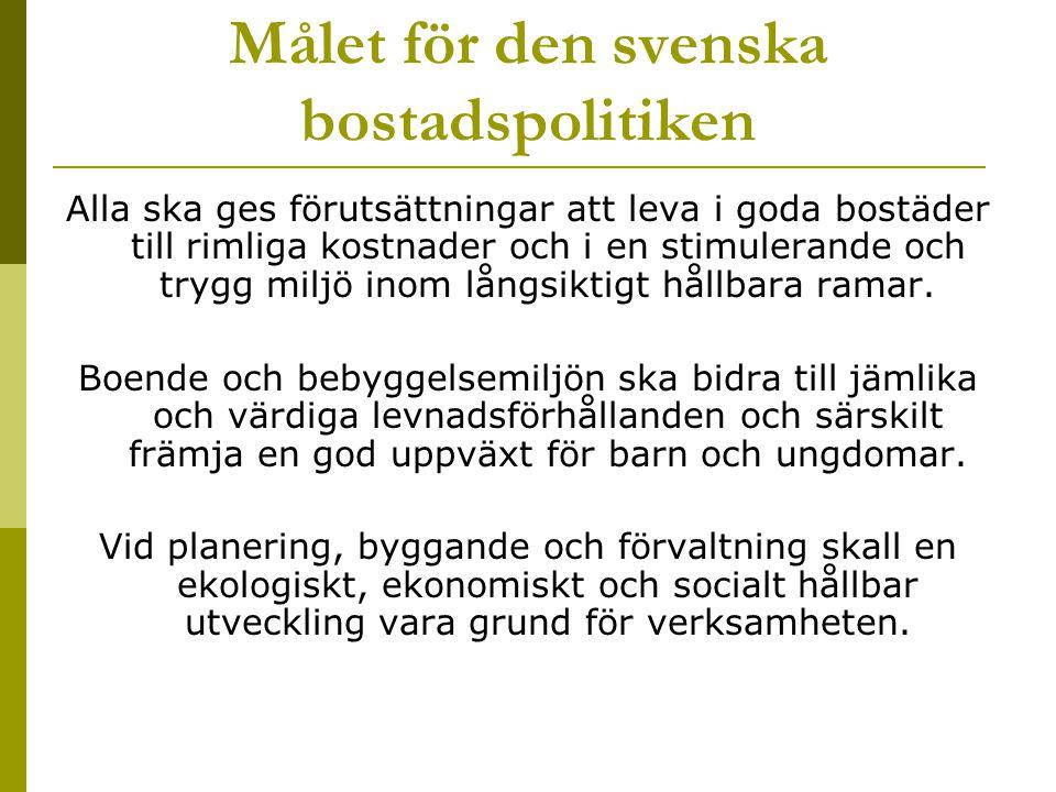 Målet för den svenska bostadspolitiken Alla ska ges förutsättningar att leva i goda bostäder till rimliga kostnader och i en stimulerande och trygg miljö inom långsiktigt hållbara ramar.
