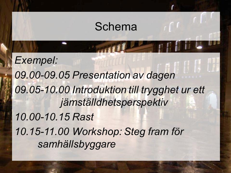 Schema Exempel: 09.00-09.05Presentation av dagen 09.05-10.00Introduktion till trygghet ur ett jämställdhetsperspektiv 10.00-10.15Rast 10.15-11.00Works