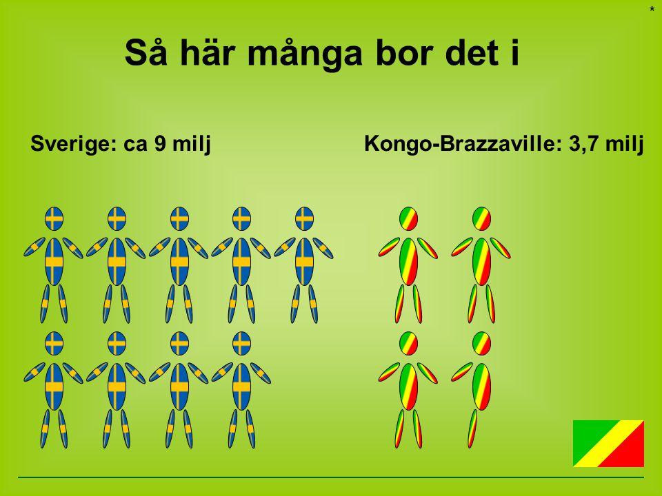 Så här många bor det i Sverige: ca 9 miljKongo-Brazzaville: 3,7 milj *