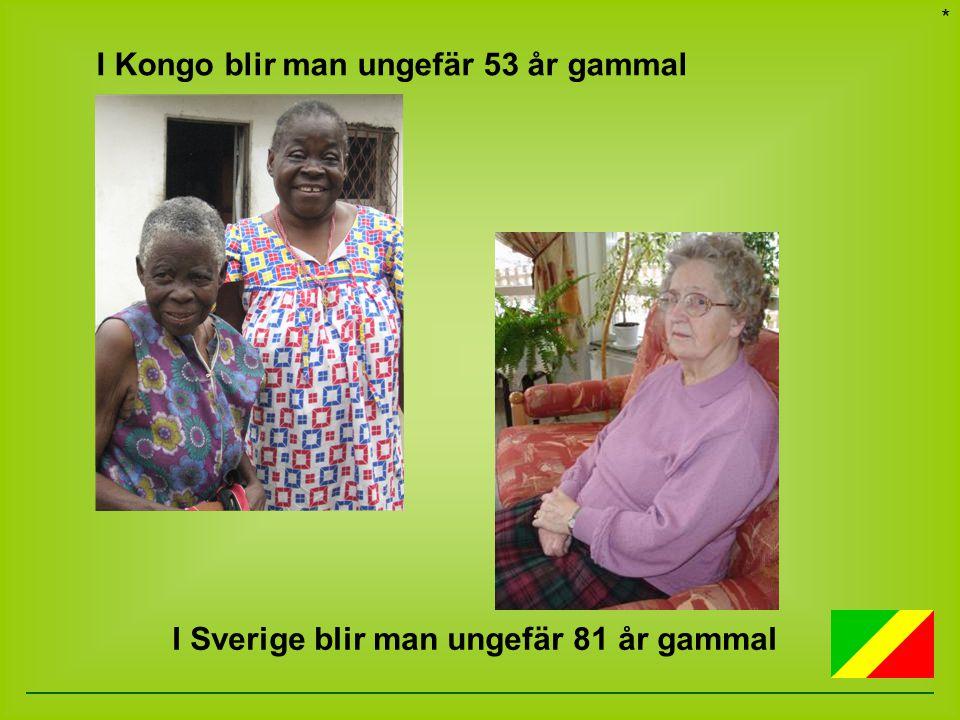 I Sverige blir man ungefär 81 år gammal I Kongo blir man ungefär 53 år gammal *