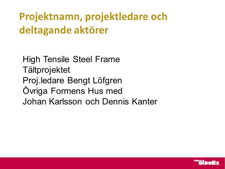 Projektnamn, projektledare och deltagande aktörer High Tensile Steel Frame Tältprojektet Proj.ledare Bengt Löfgren Övriga Formens Hus med Johan Karlss