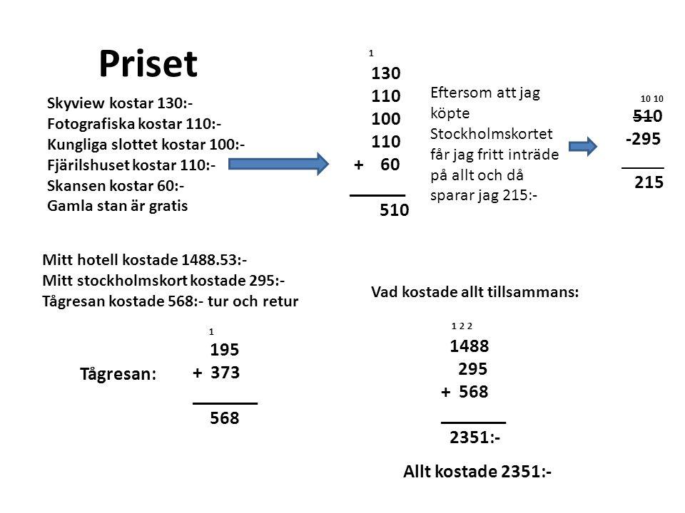 Priset Mitt hotell kostade 1488.53:- Mitt stockholmskort kostade 295:- Tågresan kostade 568:- tur och retur 1 130 110 100 110 + 60 ______ 510 10 10 510 -295 _____ 215 Eftersom att jag köpte Stockholmskortet får jag fritt inträde på allt och då sparar jag 215:- Skyview kostar 130:- Fotografiska kostar 110:- Kungliga slottet kostar 100:- Fjärilshuset kostar 110:- Skansen kostar 60:- Gamla stan är gratis Tågresan: 1 195 + 373 _______ 568 Vad kostade allt tillsammans: 1 2 2 1488 295 + 568 _______ 2351:- Allt kostade 2351:-