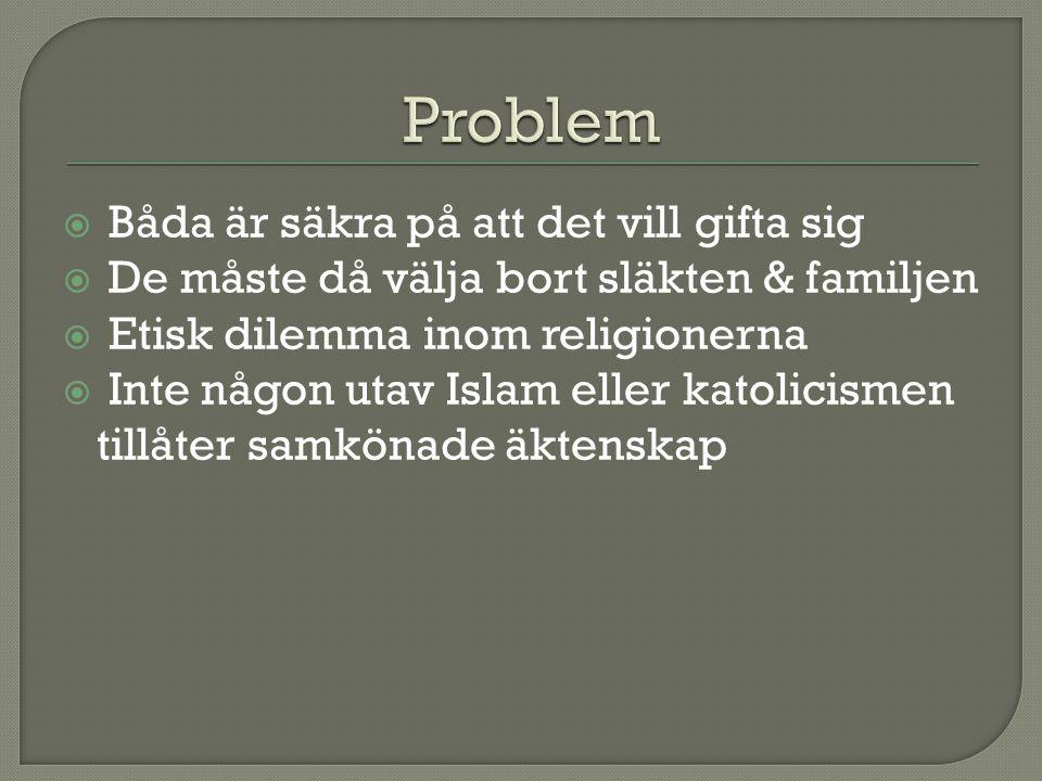  Båda är säkra på att det vill gifta sig  De måste då välja bort släkten & familjen  Etisk dilemma inom religionerna  Inte någon utav Islam eller