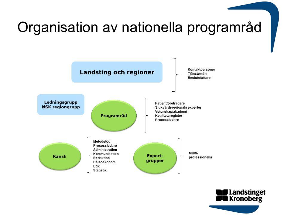 Organisation av nationella programråd