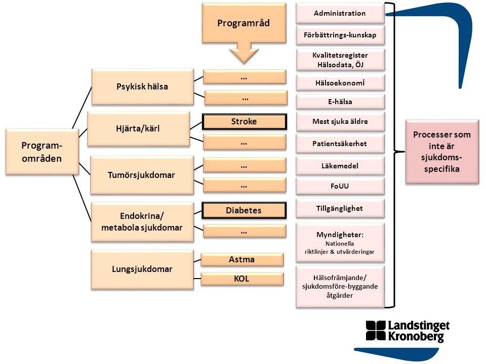 Program- områden Program- områden Psykisk hälsa Hjärta/kärl Tumörsjukdomar Endokrina/ metabola sjukdomar Endokrina/ metabola sjukdomar Stroke Diabetes