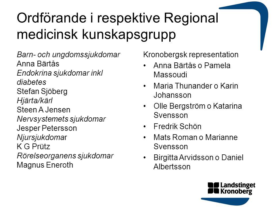 Ordförande i respektive Regional medicinsk kunskapsgrupp Barn- och ungdomssjukdomar Anna Bärtås Endokrina sjukdomar inkl diabetes Stefan Sjöberg Hjärt