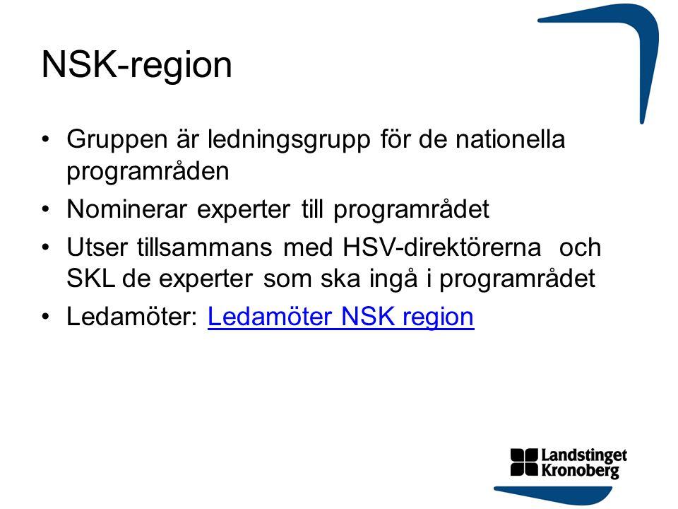 NSK-region Gruppen är ledningsgrupp för de nationella programråden Nominerar experter till programrådet Utser tillsammans med HSV-direktörerna och SKL