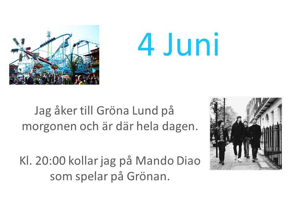 4 Juni Jag åker till Gröna Lund på morgonen och är där hela dagen.