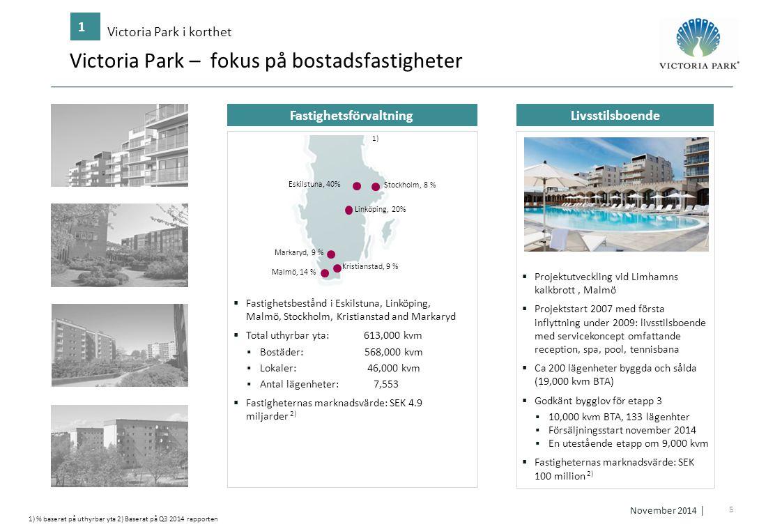 5 November 2014 │ Fastighetsförvaltning Livsstilsboende Victoria Park – fokus på bostadsfastigheter Victoria Park i korthet 1 1) % baserat på uthyrbar