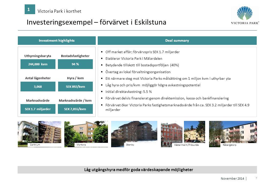 7 November 2014 │ Investeringsexempel – förvärvet i Eskilstuna Victoria Park i korthet 1 Västermalm/Frösunda Råbergstorp  Off market affär; förvärvsp