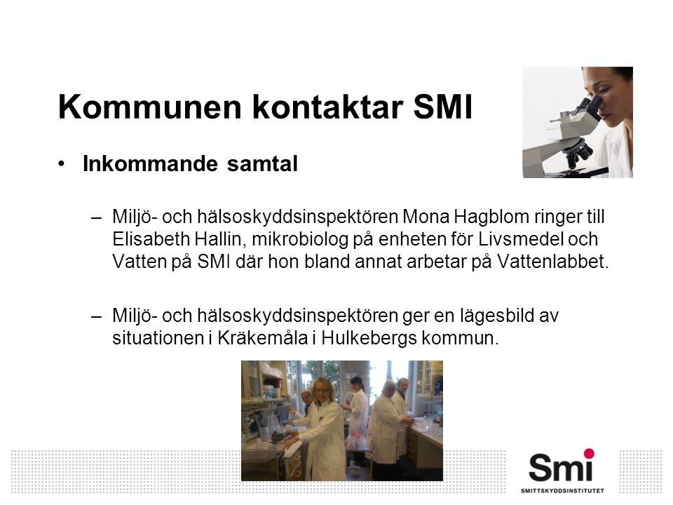 Kommunen kontaktar SMI Inkommande samtal –Miljö- och hälsoskyddsinspektören Mona Hagblom ringer till Elisabeth Hallin, mikrobiolog på enheten för Livs