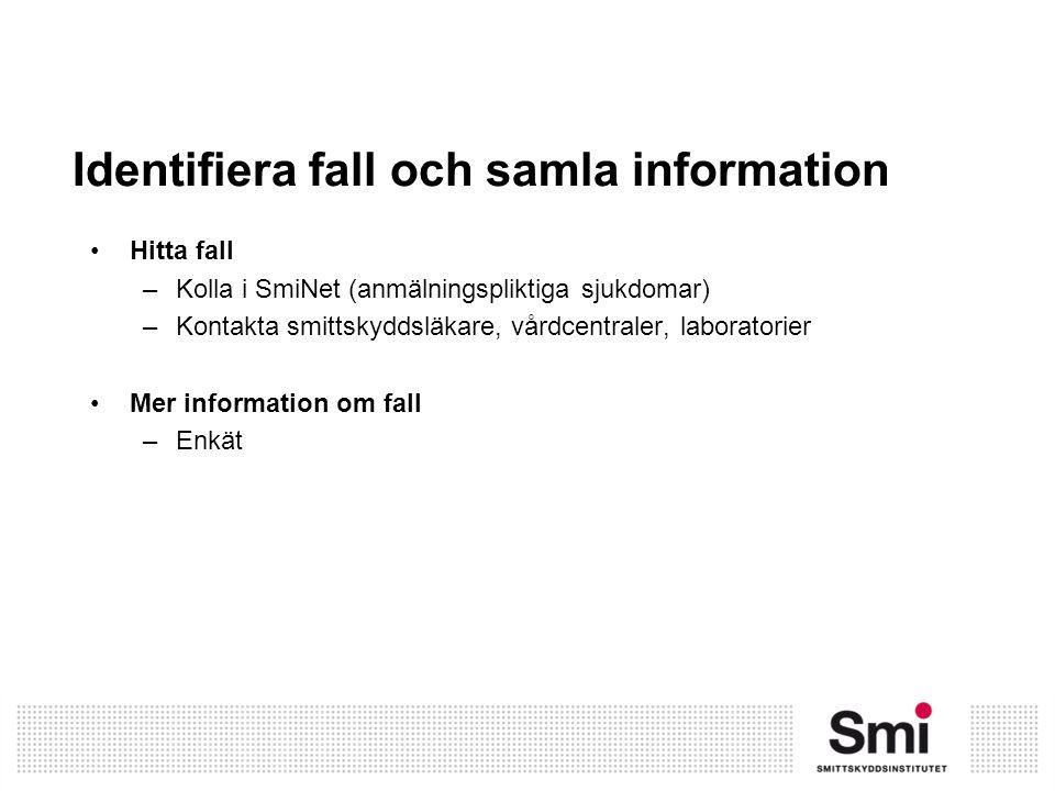 Identifiera fall och samla information Hitta fall –Kolla i SmiNet (anmälningspliktiga sjukdomar) –Kontakta smittskyddsläkare, vårdcentraler, laborator
