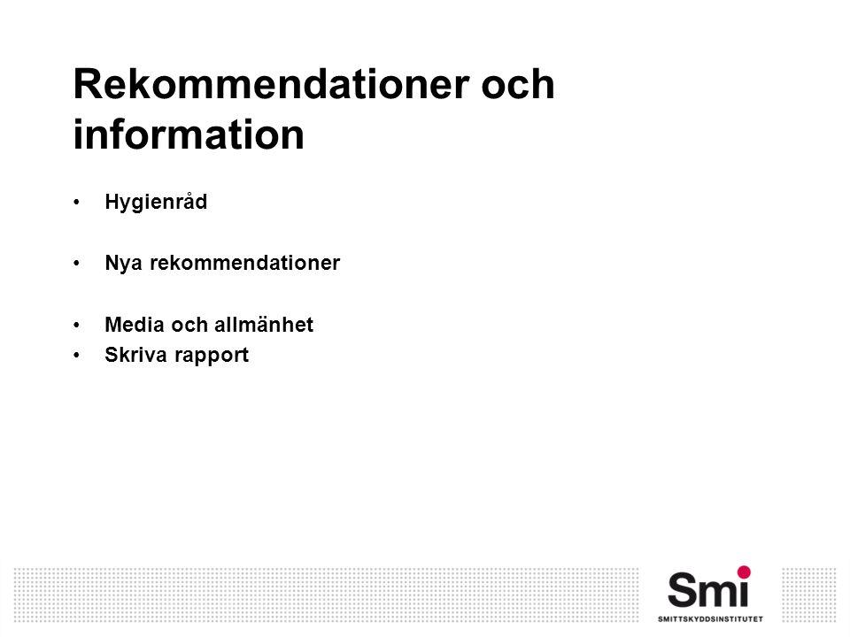 Rekommendationer och information Hygienråd Nya rekommendationer Media och allmänhet Skriva rapport