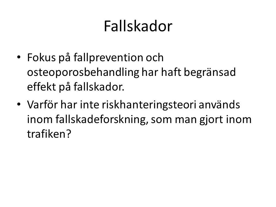 Fallskador Fokus på fallprevention och osteoporosbehandling har haft begränsad effekt på fallskador.