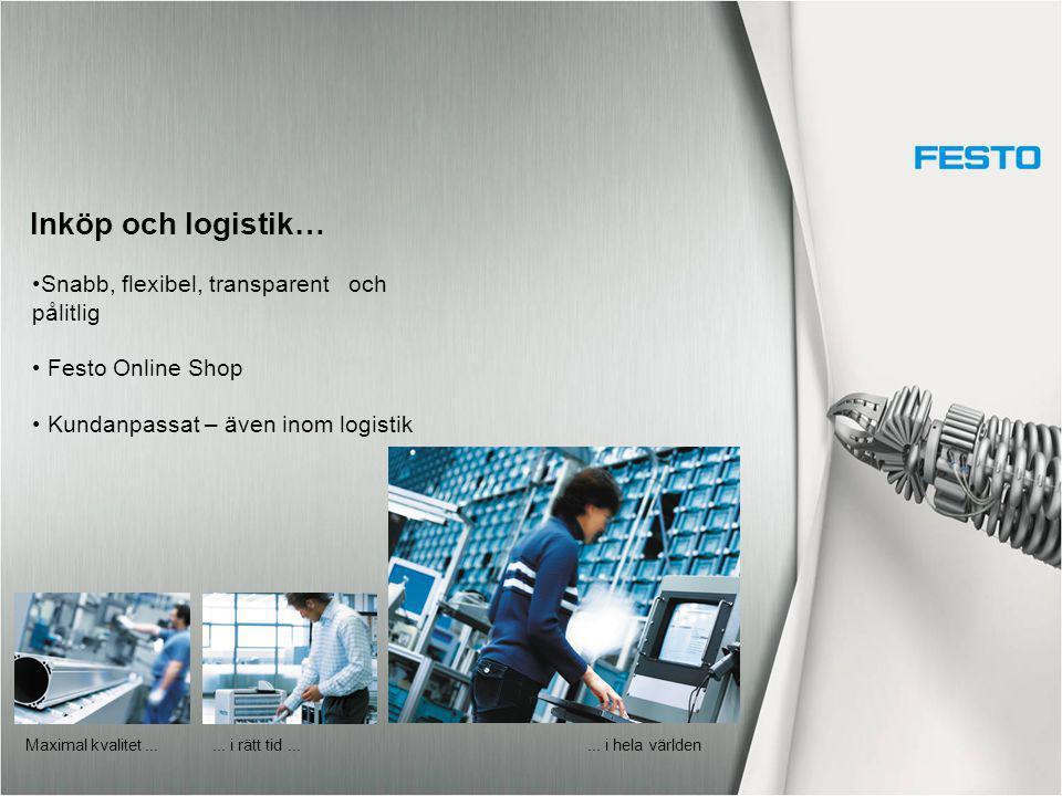 Inköp och logistik… Snabb, flexibel, transparent och pålitlig Festo Online Shop Kundanpassat – även inom logistik... i rätt tid... Maximal kvalitet...