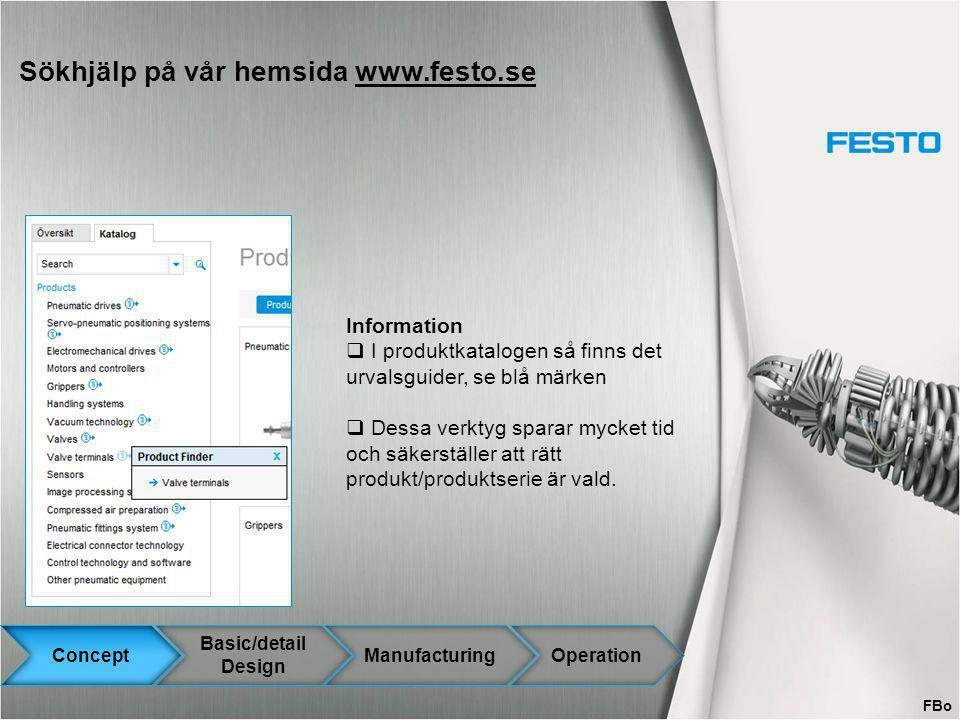 Sökhjälp på vår hemsida www.festo.sewww.festo.se Information  I produktkatalogen så finns det urvalsguider, se blå märken  Dessa verktyg sparar myck