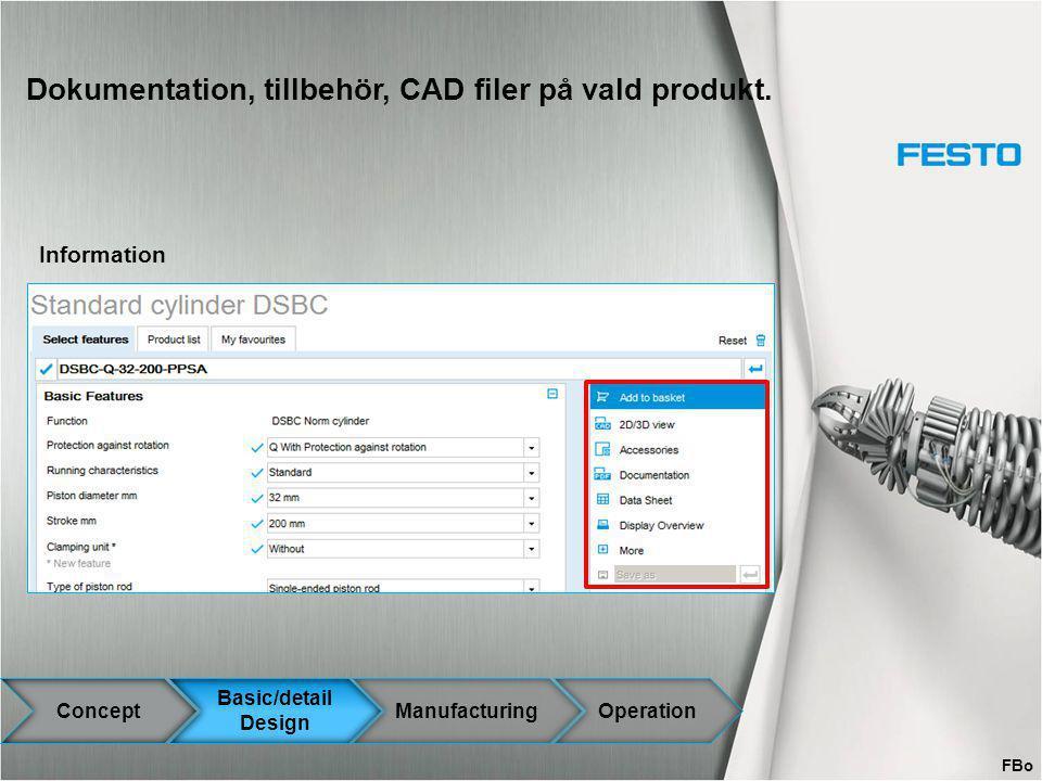 Dokumentation, tillbehör, CAD filer på vald produkt. Information Concept Basic/detail Design ManufacturingOperation FBo