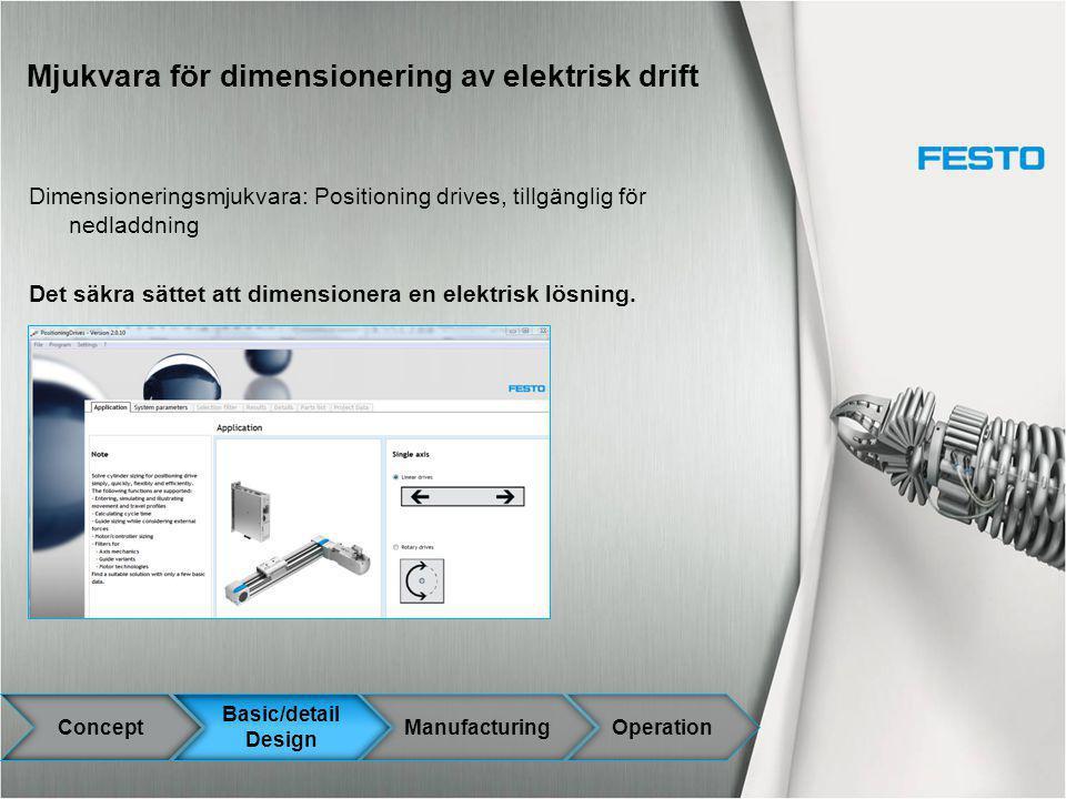 Mjukvara för dimensionering av elektrisk drift Dimensioneringsmjukvara: Positioning drives, tillgänglig för nedladdning Det säkra sättet att dimension