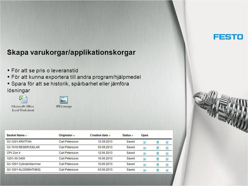 Skapa varukorgar/applikationskorgar  För att se pris o leveranstid  För att kunna exportera till andra program/hjälpmedel  Spara för att se histori