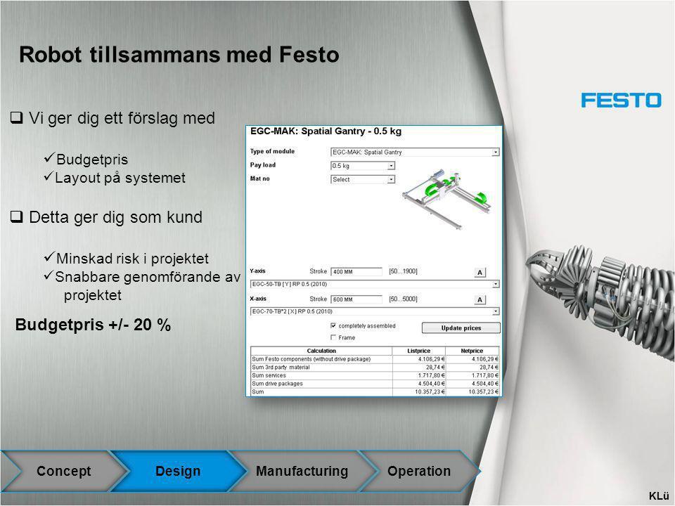 Robot tillsammans med Festo ConceptDesignManufacturingOperation  Vi ger dig ett förslag med Budgetpris Layout på systemet  Detta ger dig som kund Mi
