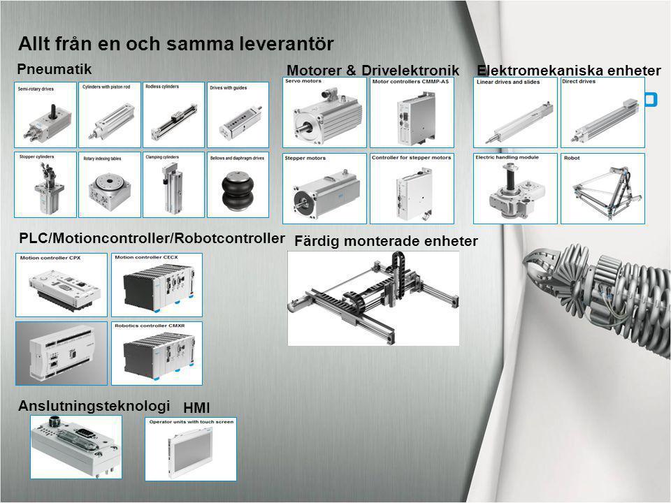Allt från en och samma leverantör Pneumatik Motorer & DrivelektronikElektromekaniska enheter PLC/Motioncontroller/Robotcontroller HMI Anslutningstekno