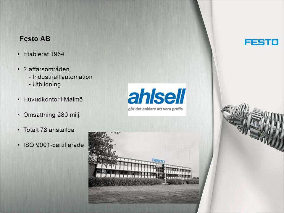 Etablerat 1964 2 affärsområden - Industriell automation - Utbildning Huvudkontor i Malmö Omsättning 280 milj. Totalt 78 anställda ISO 9001-certifierad