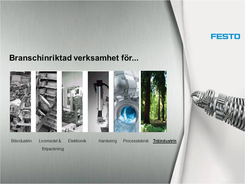 Branschinriktad verksamhet för... Bilindustrin Livsmedel & Elektronik Hantering Processteknik Träindustrin förpackning