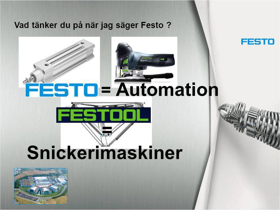 Vad tänker du på när jag säger Festo ? = Automation = Snickerimaskiner